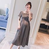 漂亮小媽咪 背後交叉 洋裝 【D9521】 韓系 格紋 短袖 格子紋 孕婦裝 短袖 連身裙