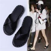 拖鞋女夏時尚韓版外穿2019新款韓版百搭平底平跟室外綢帶一字涼拖