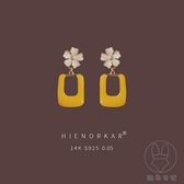 黃色耳環潮耳墜女韓國氣質純銀耳釘花朵夸張大耳飾【貼身日記】