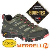 【MERRELL 美國】MOAB 2女GORE-TEX 多功能健行鞋『橄綠/粉橘』41106 機能鞋.多功能鞋.登山鞋