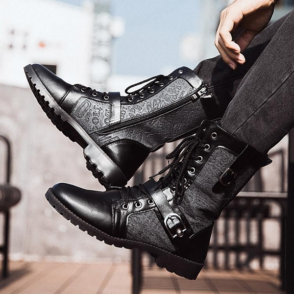 馬丁靴男加絨保暖棉鞋冬季黑色潮流韓版男士皮靴中高筒工裝男靴子 滿天星
