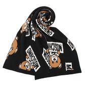 MOSCHINO 小熊玩偶圖案造型羊毛針織圍巾(黑色)911002-16