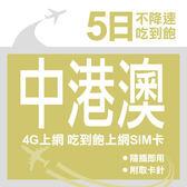 【JoySim】中港澳上網卡 5日 不限流量不降速 4G上網 吃到飽上網SIM卡