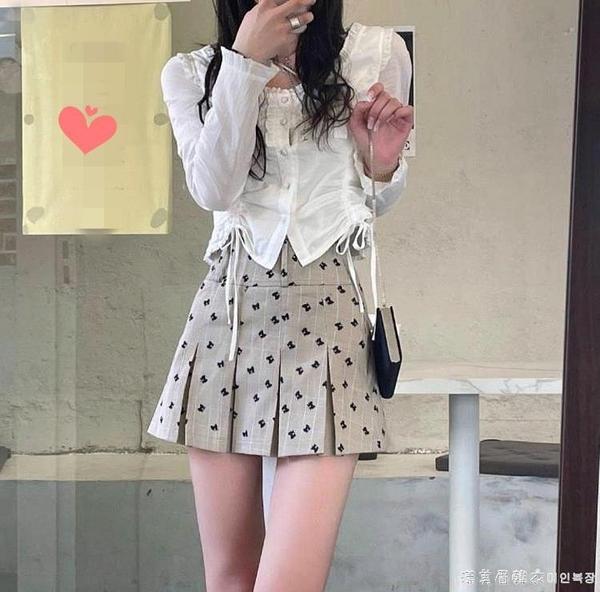 JMSHOP 心動信號 蝴蝶結短裙百搭裙褲早春新款高腰百褶半身裙 美眉新品