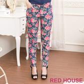 【RED HOUSE 蕾赫斯】滿版花朵九分褲(深藍色)