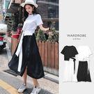 黑白配極簡綁帶短袖套裝洋裝/ 衣櫃控-W...