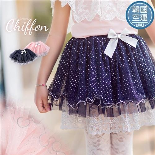 韓國童裝~銀縷織花點點雪紡層紗超蓬蓬裙(250290)【水娃娃時尚童裝】