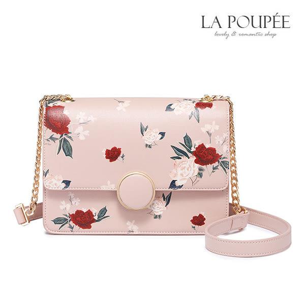 側背包 復古花園浪漫玫瑰小方包 -La Poupee樂芙比質感包飾 (現貨)