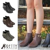 B-20760 女款粗跟短靴  經典後拉鍊中粗跟短鞋【PRETTY】