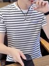 T恤男短袖修身條紋潮流純棉上衣服2021夏季半截袖青年海魂衫體桖