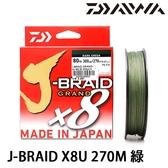 漁拓釣具 DAIWA J-BRAID GRAND×8U 80LB 300yd 綠/黃 #8 (PE線)