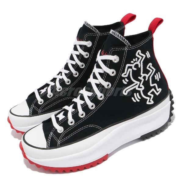 Converse 休閒鞋 Keith Haring Run Star Hike 黑紅 男女鞋 厚底 增高 【ACS】 171859C