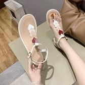 低跟涼鞋 2021夏季新款方跟低跟韓版花朵女涼鞋平底夾趾女鞋愛心網紅羅馬鞋 晶彩 99免運