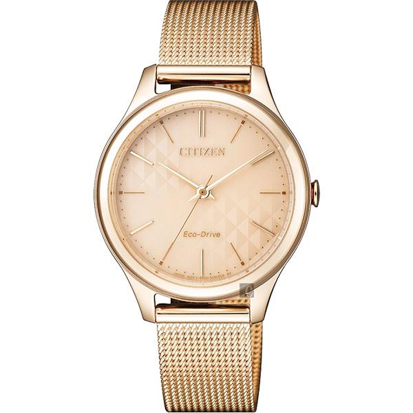 情人節推薦款 CITIZEN 星辰 光動能樂來越愛米蘭帶女錶-玫瑰金/32mm EM0503-83X