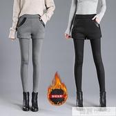 加絨加厚假兩件打底褲女冬外穿彈力短褲裙保暖高腰小腳褲 母親節特惠
