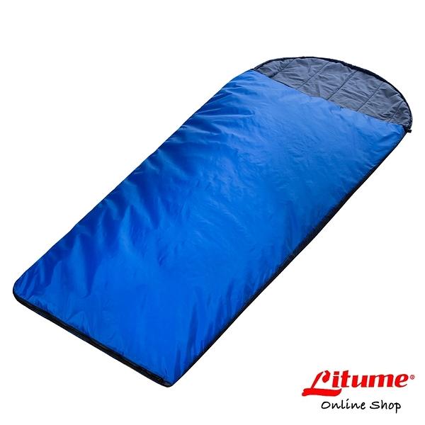 【Litume】化纖棉保暖睡袋『深藍』C052 露營.登山.戶外.度假打工.背包客.自助旅行.居家