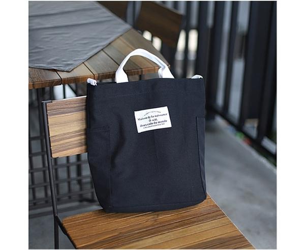 #斜背包#撞色#側口袋 拉鍊 斜挎 帆布包 環保購物袋-手提包/單肩包/斜背包