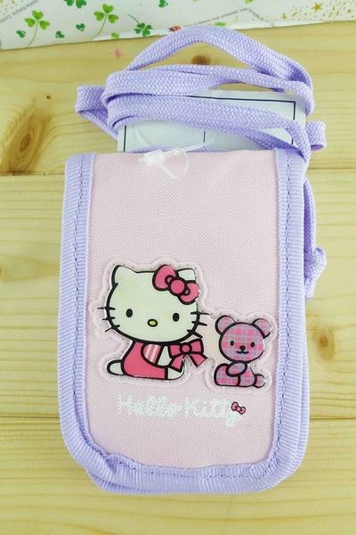 【震撼精品百貨】Hello Kitty 凱蒂貓~KITTY證件套附繩-小熊圖案-紫色