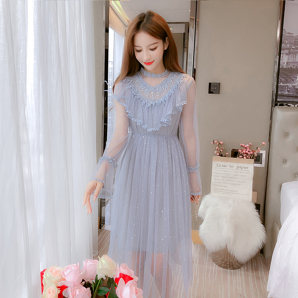 超殺29折 韓國風網紗仙氣長裙chic溫柔森系長款氣質長袖洋裝