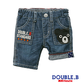 DOUBLE_B 黑熊刺繡休閒薄牛仔褲(靛藍)