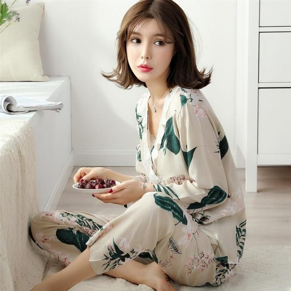 春秋季梭織純棉綢睡衣女士夏季長袖綿綢薄款人造棉睡衣套裝家居服 全館八八折鉅惠促銷