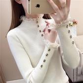 毛衣女保暖修身上衣 針織白色黑色打底衫秋冬春秋百搭