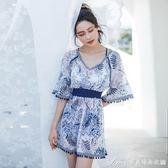 泳衣 新款韓國泡溫泉 遮肚 泳衣女三件套小胸聚攏小香風性感女士游泳裝  艾美時尚衣櫥