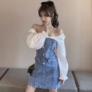 洋裝 2021早秋季新款時尚方領一字肩泡泡袖拼接修身顯瘦牛仔連身裙女潮