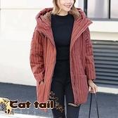 《貓尾巴》JP-03493 簡約純色條紋加厚連帽外套(森林系 日系 棉麻 文青 清新)