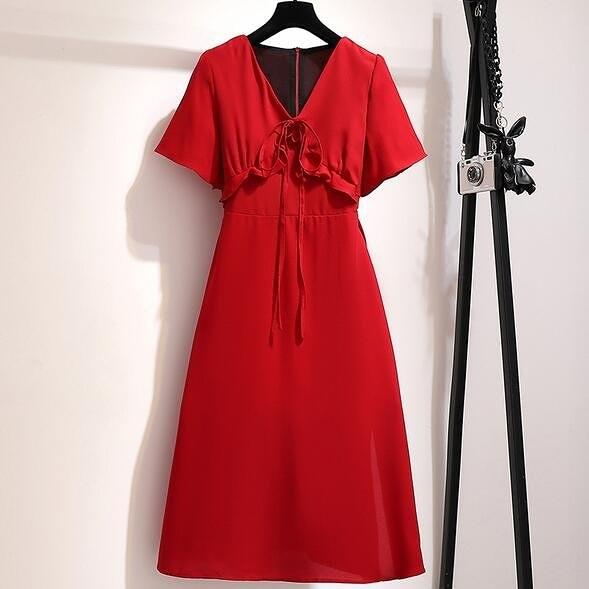 洋裝 V領 裙子 中大尺碼XL-5XL新款時尚復古赫本紅裙收腰顯瘦氣質連身裙4F093-19354.胖胖唯依