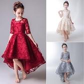 公主裙女童生日兒童禮服小女孩花童婚禮主持人鋼琴演出服紅色洋氣 幸福第一站