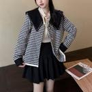 夾克外套 秋季2021新款韓版復古氣質小香風海軍領短外套寬鬆顯瘦夾克上衣女