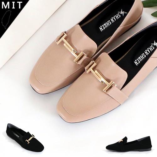 女款 韓國雜誌款 金屬釦飾方頭可當拖鞋兩穿 穆勒鞋 休閒包鞋 平底包鞋 懶人包鞋 MIT製造 59鞋廊