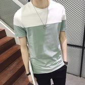 夏季男士圓領短袖男潮t恤韓版修身潮流學生體恤青年薄款男裝衣服 薔薇時尚