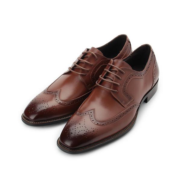 CHIC&F 真皮雕花紳士徳比鞋 紅棕 ST8505-3 男鞋 鞋全家福