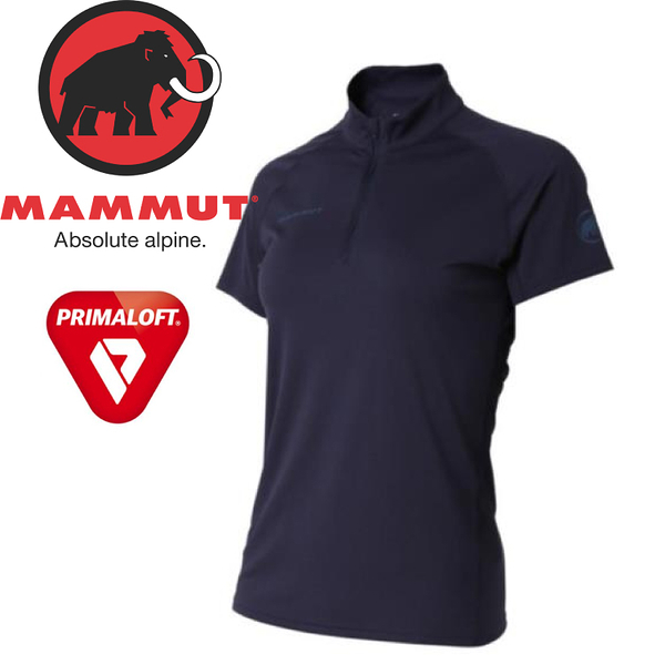 【MAMMUT Performance Dry Zip T-Shirt 女《海洋藍》】1017-00430-5118/長毛象/Primaloft/半開襟排汗衣