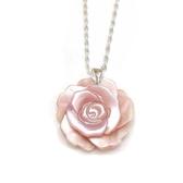 貝殼粉紅玫瑰花純銀項鍊- 花18 mm