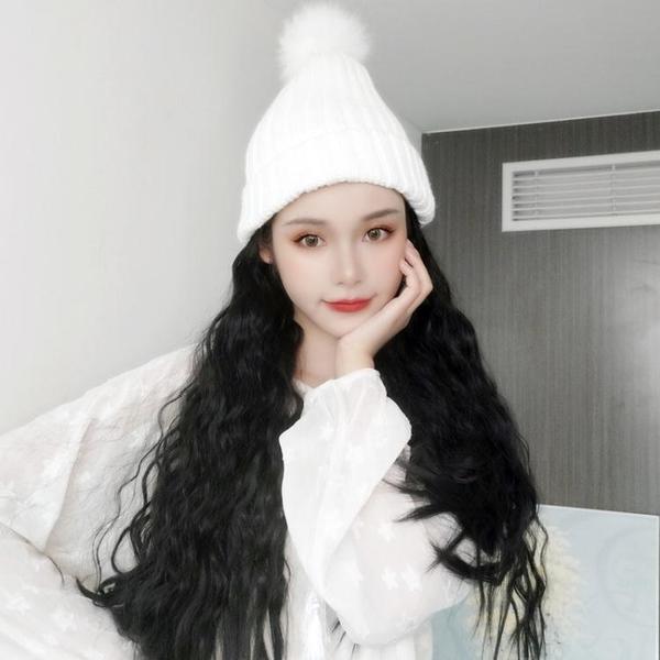 假髮帽子 假髮女中長髮秋冬天針織帽假髮一體時尚長卷髮羊毛卷全頭套式 新年禮物