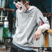 『潮段班』【HJ006149】秋冬新款假兩件式素色連帽長袖T恤 手臂飄帶造型休閒潮流長袖帽T