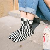 4雙裝 黑白條紋襪子女中筒襪韓版學院風日系復古韓國春夏百搭純棉