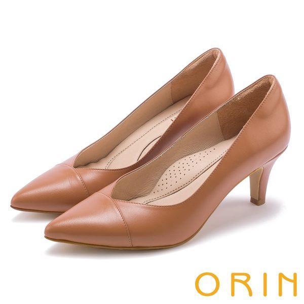 ORIN 典雅氣質 尖頭V口柔軟羊皮高跟鞋-棕色