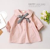 氣質韓版粉色娃娃領圓口袋排釦小外套 風衣 襯衫 格紋綁帶 女童上衣 女童裝 秋冬長袖 童裝