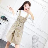 2018秋裝新款韓版氣質百搭長袖T上衣 雙排扣收腰開叉背帶裙套裝女