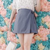 Poly Lulu 甜美側壓褶開衩綁結短裙-灰藍【95250062】