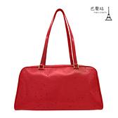 【巴黎站二手名牌專賣店】*現貨*Christian Dior CD 真品*紅色 全皮 雨滴 小點點亮面 手提包