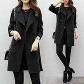 風衣外套 外套女2018秋冬裝新款中長款韓版繭型小個子大衣寬鬆大碼