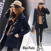 藍色巴黎 ★ 秋冬時尚加厚可拆帽中長版毛呢外套  《S/M》【28850】
