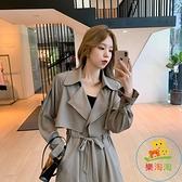 風衣女中長款韓版小個子寬鬆秋裝大衣氣質外套潮 樂淘淘