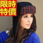 針織帽細緻新款-正韓潮流格紋保暖男女護耳帽2色64b24【巴黎精品】