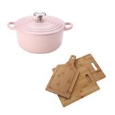 (組)Amour亞莫鑄鐵琺瑯湯鍋20cm-櫻花粉+生熟食竹砧板三入組
